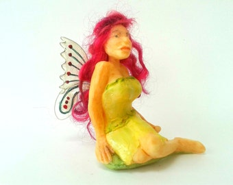 Fairy Figure Ornament, Handmade OOAK Fairy Figure, Pixie Figure, Resin Fairy Sculpture, Fairy Doll Pink Hair, Fantasy Art Doll, Gift for Her