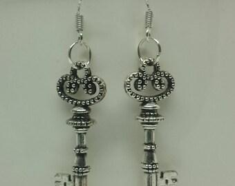 Tibetan Silver Key Earrings with 925 Sterling Silver Wire Hooks