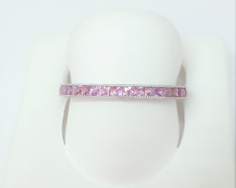 Vintage 14k White Gold Pink Sapphire Princess Cut Gemstone Eternity Mil-grain Carving Band Size 7