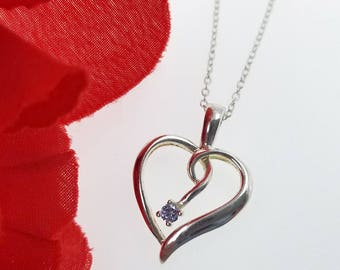 Sterling Silver and Iolite Gemstone Heart Pendant Necklace