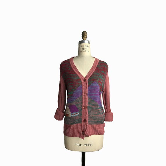 Vintage 70s Space Dyed Mountains Cardigan Sweater in Dusty Rose - women's small/medium