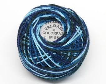 Valdani Pearl Cotton Thread Size 8 Variegated: #M58 Midnight Sea