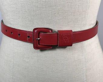 Vintage Red Anne Klein Thin Waist Belt, Genuine Leather, Size S