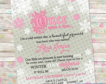 Winter Onederland Birthday, Snow Princess, Pink and Gray, Snowflake Birthday, Fairytale Birthday, Winter Princess Printable DIY