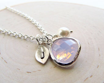 October Birthstone Necklace, Opal Necklace Silver, Birthstone Jewelry, Opal Jewelry, Personalized Necklace, October Birthday Gift