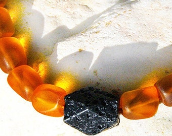 Celestial Skies Artisan Santorini Necklace Black Lava Stone Necklace Big Statement Necklace Frosted Matted Tumbled Glass Amber Orange Black