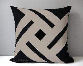 Black & Taupe Outdoor Pillow Cover, Geometric Pillow Case, Decorative Pillow Cover, Taupe Sunbrella, Taupe Cushion Cover, Mazizmuse Pinwheel