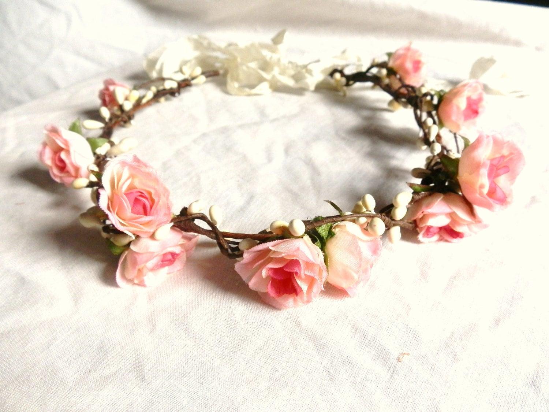 Pink rose hair crown pink flower crown rose floral headband zoom izmirmasajfo