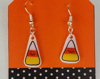 Candy Corn Earrings Halloween smiley face