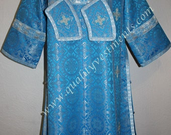 Deacon Orthodox Vestment Metallic Brocade Light Blue Silver Set