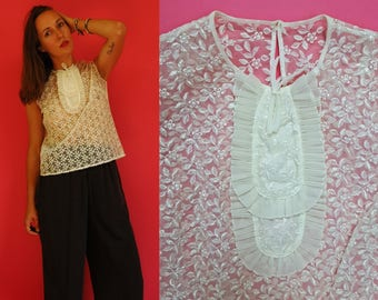 1960s Sheer Embroidered Floral White Blouse with Ruffle Neckline