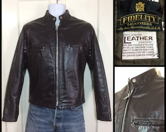 vintage 1980's dark brown black cafe racer leather motorcycle jacket youth size 18 or mens XS by Fidelity Leathers Boston Mass biker