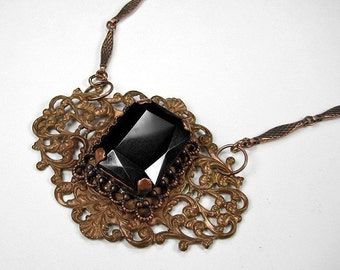 Steampunk Jewelry, Victorian Necklace Filigree Dark TOPAZ, Bar UNIQUE Chain Anniversary, Womens Mothers Gift BEAUTY! - Jewelry by edmdesigns