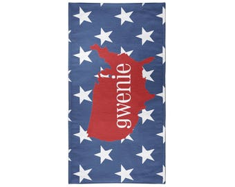 4th of July USA Personalized Beach Towel