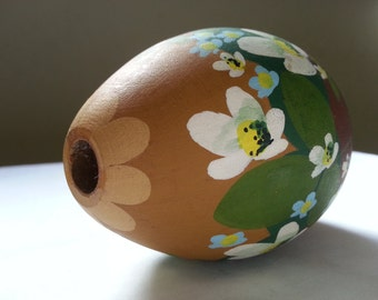 Swedish handmade painted wooden egg candle holder vintage Easter made in Sweden candlestick