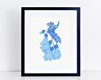 new zealand kowhai flower print - blue modern botanical illustration with security envelope lining, new zealand art, blue floral artwork