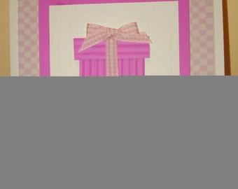 Hot pink birthday present card