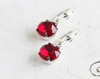Red Rhinestone Earrings, Dark Red Earrings with Silver Plated Hooks, Red Dangle Earrings, Glass Jewels, Vintage Style Jewelry
