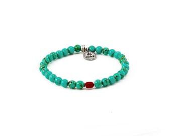 Mallah Bracelet, Turquoise Bracelet, Mens Bracelet, Boho Jewelry, Gift For Him, Tassel Bracelet, Beaded Bracelet, Layers Bracelet, Stretch