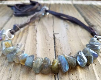 Labradorite Necklace and Hill Tribe Silver, Sterling Silver, Adjustable Necklace, Labradorite Jewelry, Labradorite Chip and Leather