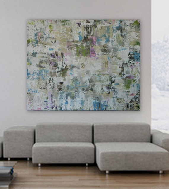 """Extra Large XL HUGE 48"""" x 60"""" Custom painting by Marcy Chapman Modern Abstract silver/blue green pink fuchsia cream, white"""