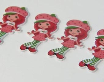 Strawberry Shortcake Toppers Planar Resin Cabochon Embellishments Flatback Pink