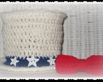 Baby Uncle Sam Hat and Bow Tie in crochet, Fourth of July Photo prop, Yankee Doodle Dandy