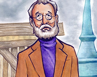 """Bill Murray in Wes Anderson's """"The Royal Tenenbaums"""" watercolor - 5""""x7"""" Postcard or 8""""x10"""" Print"""