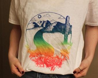 Desert Scene (Rainbow) on White T-shirt