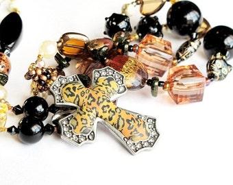 Silver leopard cross long beaded necklace handmade