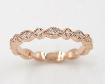 Art Deco Diamond Wedding Band.Rose Gold Wedding Ring.14K Solid Gold Matching Band.100%Natural Diamond Band.Half Eternity Ring.Diamond Ring.