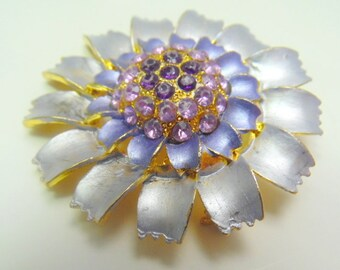 """Awesome silvery gray flower brooch with lavender, and purple crystal accents.    2"""""""