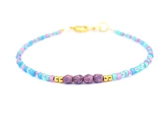 Purple Bracelet, Seed Bead Bracelet, Friendship Bracelet, Mixed Bead Bracelet, Yoga Bracelet, Turquoise Bridesmaid, Blue Wedding