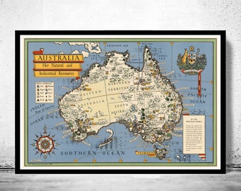 Old Map Australia Oceania New Zealand Antique Vintage Map