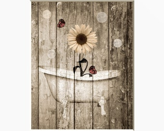 country bathroom wall decor. Rustic Vintage Bathroom Farmhouse Wall Decor, Sunflower, Butterflies Country Bath Home Decor Matted Picture S