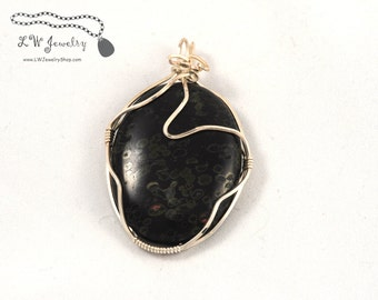 Wire Wrapped,  Pendant,  Oolitic Jasper,  Sterling Silver, Pendant, wire pendant, wire wrap, wire wrapping, wire wrapped pendant, necklace