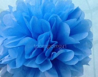 PACIFIC BLUE / 1 tissue paper pom pom / baby shower / wedding devorations / birthday / bridal shower / nursery decor / anniversary