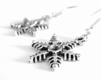 Silver Snowflake Earrings - Christmas Stocking Stuffers For Women Gifts Under 10 - Sterling Silver Snowflake Jewelry - Winter Jewelry - 186