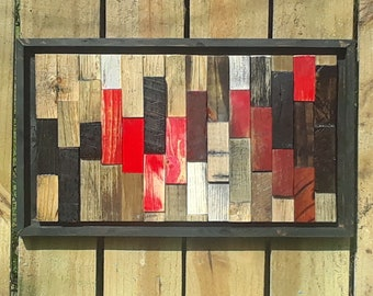 Reclaimed Wood Wall Art, Wall Decor, Geometric, Wood Wall Art, Wood Decor, Rustic, Modern Art,  Assembly art, 3D, Cube, lath, lath art, wood