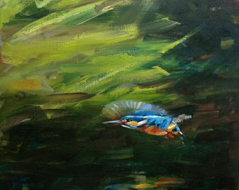 FINE ART PRINT Kingfisher in Flight - Signed Limited Edition A2 size from original oil painting birds, wildlife