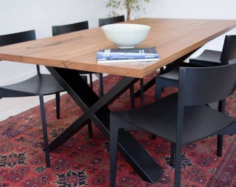 Hattie dining table with recycled timber top and powder-coated steel legs - custom made
