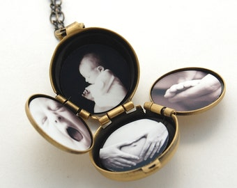 Incredible Four-Way Locket Necklace Family Album Lockets Mourning Jewelry 4 Picture Photograph Unique Gift Customize Personalize Necklaces