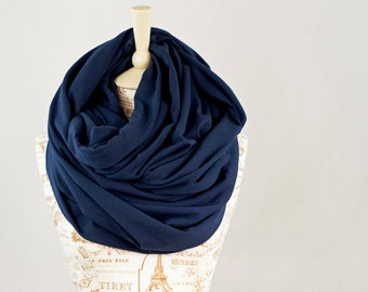 Chunky Infinity Scarf, Navy Scarf, Blue Scarf, Clothing Gift for Her, Oversized Hooded Hood Outdoors Gift , Large Scarves Winter Scarf