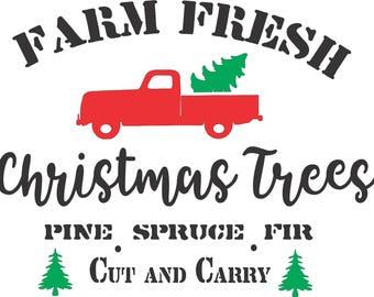 Farm Fresh Christmas Tree Stencil,Farm Fresh Stencil, Fall Stencil, Farmhouse Sign Stencil, Furniture Stencil, Christmas Stencil