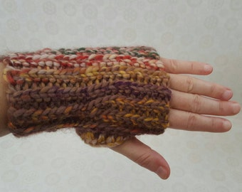 Chunky Crochet Wool Wrist Warmers