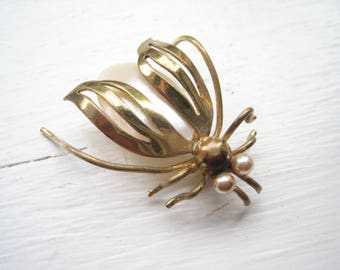 Antique brass insect brooch, brass beetle pin, mother of pearl insect, MOP beetle brooch, winged insect pin