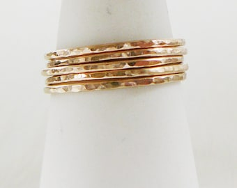 14 kt Gold Filled Ring, Set of 3 Hammered stacking skinnies thin skinny stacker ring midi knuckle
