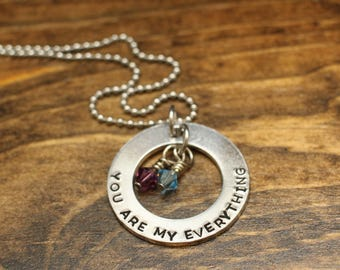 Mommy Necklace, Mom Jewelry, You Are My Everything, Necklace for Mom, Gift for Her, Gift for Mom, Birthstone Necklace, Personalized Jewelry