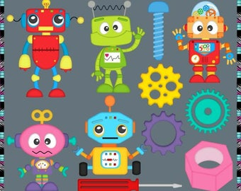 Spare Parts, Robots - Instant Download - Commercial Use Digital Clipart Elements Graphics Set