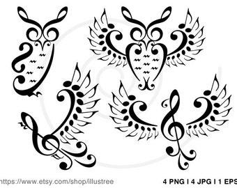 Music owls, music birds, digital clip art, music notes clipart set for logo design, graphic design, vector, PNG, JPG, EPS, instant download